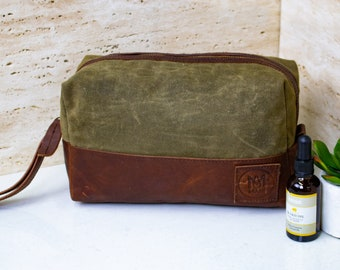 9db730c9b4 Personalized Wax Canvas and Leather Wash Bag in Khaki Green and Brown -  Men s Shaving Kit - Dopp Kit Handmade by MAHI Leather