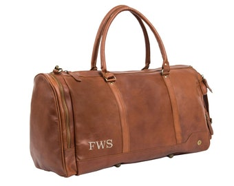 e30842b0e5cb Handmade Premium Leather Holdall   Duffle - Personalized Weekend Bag -  Overnight Leather Bag in Vintage Brown by MAHI Leather