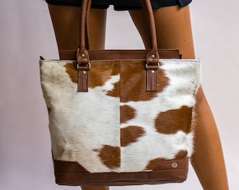 87b1a7c72 Cowhide 'Pony Hair' Tote Handbag in Brown & White Cow Print 'Pony Fur' and  Brown Full Grain Leather Detailing Gift For Her Handmade by MAHI