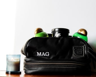 Mens Black Leather Wash Bag - Leather Shaving Bag - Toiletry Bag - Dopp Bag - Personalised by MAHI Leather