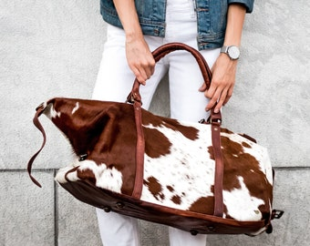 Large Leather Cowhide Duffle Bag - Natural Fur Animal Print -  Weekend Overnight Bag in Brown   White Cow Print Pony Hair by MAHI Leather ccc405ef0e880