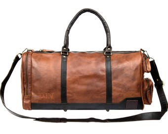 Leather Holdall/Duffle - Weekend Bag - Overnight Bag in Vintage Brown and Mahogany by MAHI Leather