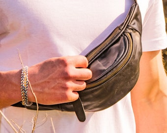 Black Leather Bum Bag/Hip Bag/Fanny Pack by MAHI Leather