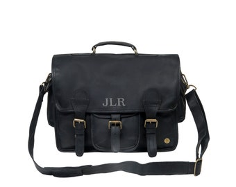 cb78e33fbe2e Large Leather Satchel - Messenger Bag - School Work Bag with 15