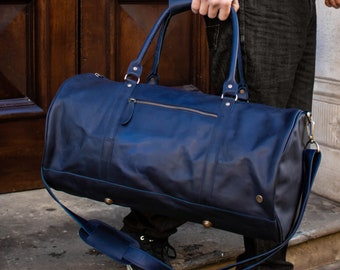 6325372a6f Personalized leather duffle bag - leather weekend bag - overnight bag - gym  bag - holdall in Navy handmade by MAHI Leather