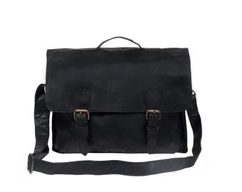 Traditional Leather Satchel - Messenger Bag - Book Bag – School Bag – Work  Bag with 15