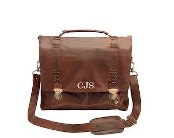 3035f37567 Leather Clip Up Satchel - Messenger Bag - Work Bag - 15