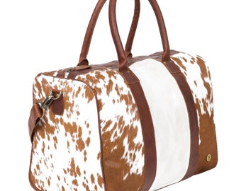 6d3ad6080a3b Leather Cowhide Compact Holdall Duffle - Animal Print with Natural Fur -  Weekend/Overnight Bag in Brown & White Cow Print Pony Hair by MAHI