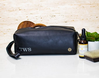 Mens Leather Wash Bag Dopp Kit With Personalised Initials - Bulk Discounts  - Leather Shaving Bag Toiletry Bag Handmade by MAHI Leather b74c4679089d8