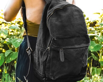 Personalized Black Canvas   Leather Backpack   Rucksack Handmade by MAHI  Leather c5a68b42c11cf