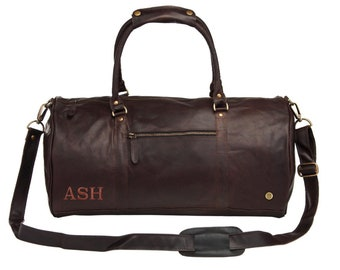 2a32e62d4237 Personalized Leather Duffle Bag Weekend Bag - Overnight Bag - Gym Bag in  Vintage Mahogany Handmade by MAHI Leather