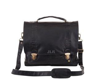 c9eede89b66f Leather Clip Up Satchel - Messenger Bag - Work Bag - 15