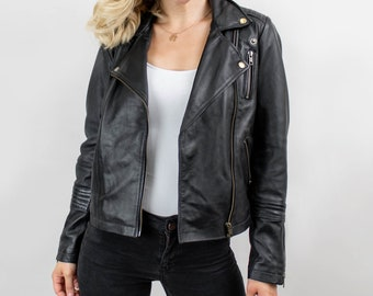35167917efdb Womens Black Leather Biker Jacket - Classic Quilted Detail - Asymmetrical  Zip by MAHI
