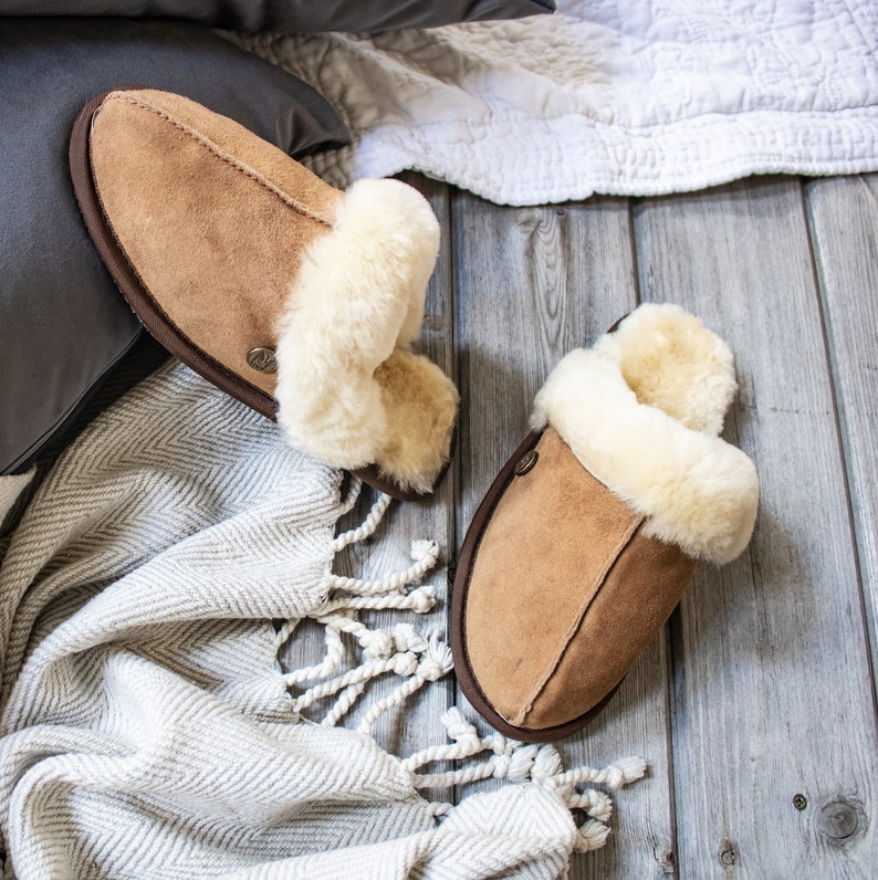 d1aac24544f56 Womens/Ladies Handmade Sheepskin Slippers in Tan (brown/beige) Suede  Leather House Shoes Gift For Her by MAHI