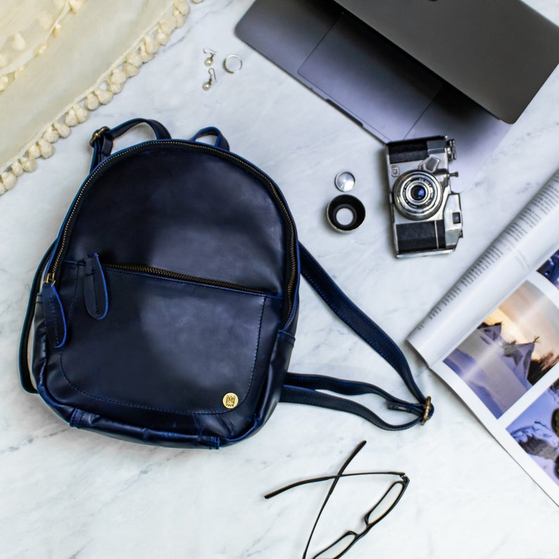 Mini Backpack Personalized Navy Full Grain Leather Small  ae9722daebcc4