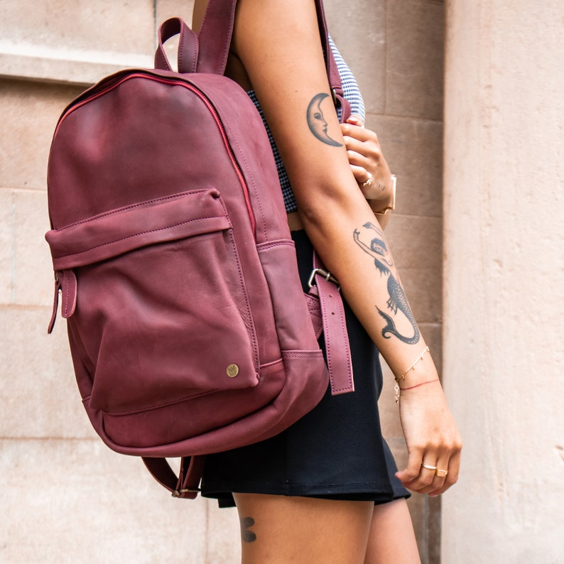 Personalized Suede Leather Backpack Rucksack 13 inch laptop  59fe6cea89185