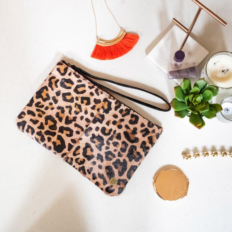 Leopard Print Pony Hair Leather Clutch Bag Handmade Hair on  19dac5d35d69a