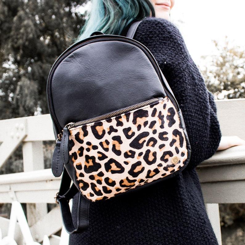 Mini Backpack with Leopard Print Pocket   Ebony Black Full Grain ... 34ed0a1c15bb5
