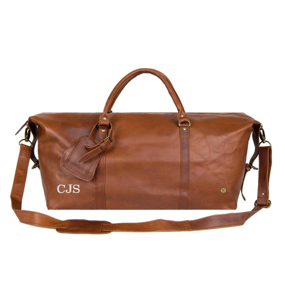 Personalized Large Leather Weekend Duffle Leather Holdall  9cb8ad57360e8