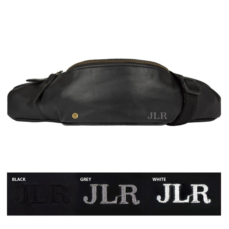 Personalized Black Leather Bum Bag Fanny Pack For Festivals City Breaks Travel with Waterproof Lining Handmade by MAHI Hip Bag