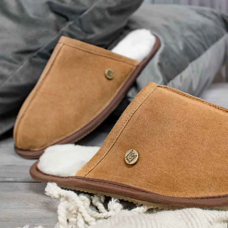 b1faaadec301c Unisex/Mens Handmade Sheepskin Slippers in Tan (brown/beige) Suede Leather  House Shoes Gift For Him by MAHI