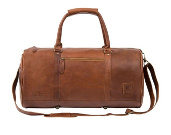 Leather duffle bag - leather weekend bag - overnight bag - gym bag - holdall in Vintage Brown by MAHI Leather