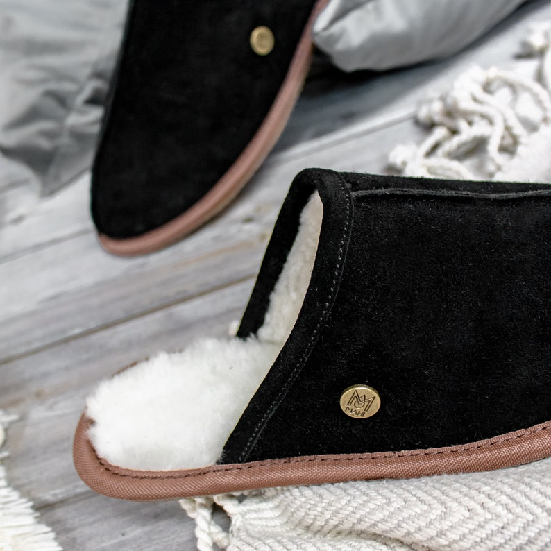 15d1c7e8f3b14 Unisex/Mens Handmade Sheepskin Slippers in Black Suede Leather House Shoes  Gift For Him by MAHI