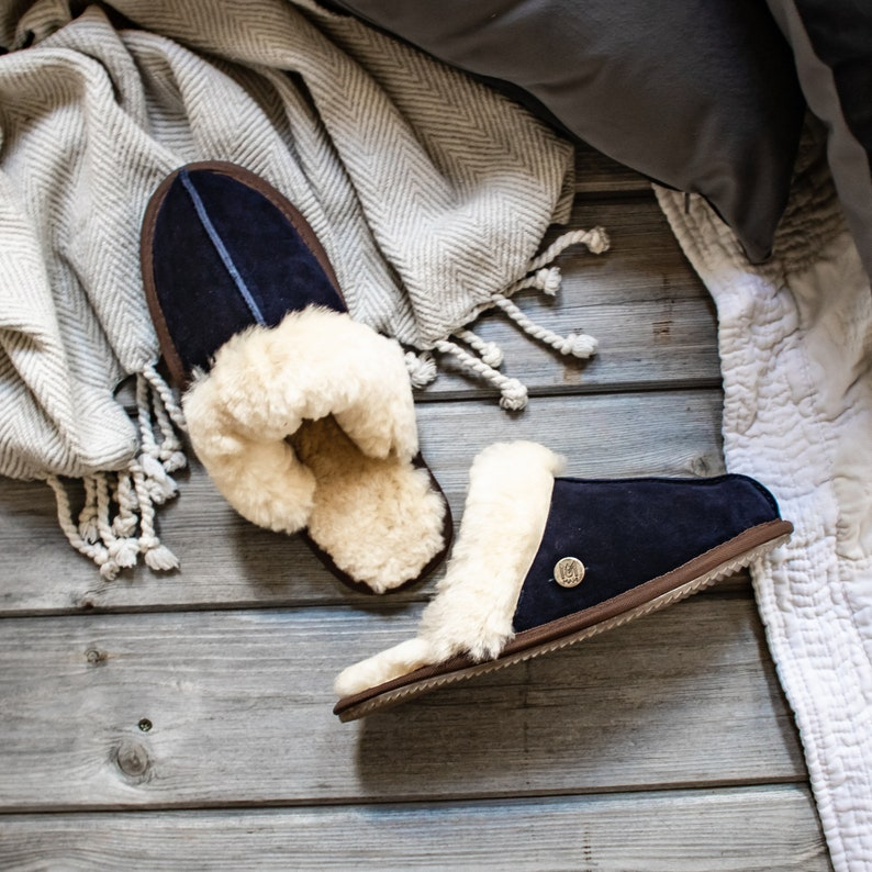 7d4b48e4b767e Womens/Ladies Handmade Sheepskin Slippers in Navy Blue Suede Leather House  Shoes Gift For Her by MAHI