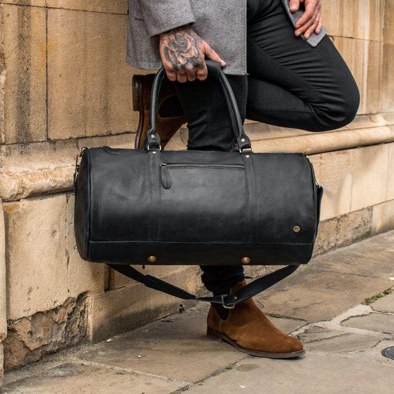 Fourre-tout tan new real cuir italien peau de vache Gym Duffle week-end sac de voyage
