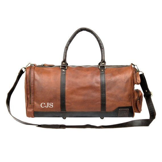 Personalized Leather Holdall Duffle Weekend Bag Overnight  29a499e116c45