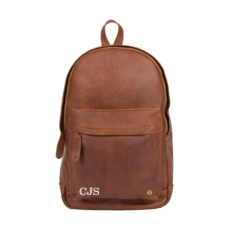 cad9d86e1636 Personalized Initials Leather Backpack Laptop Backpack in Black or Brown  Full Grain Leather Unisex Mens Womens Backpack For College by MAHI