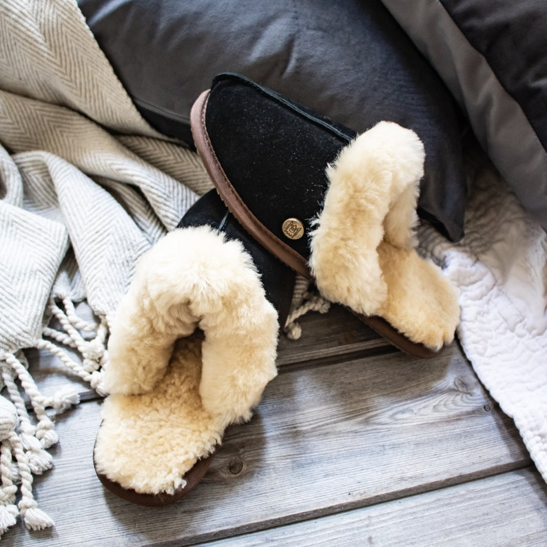 cbb1cd5420b1e Womens/Ladies Handmade Sheepskin Slippers in Black Suede Leather House  Shoes Gift For Her by MAHI