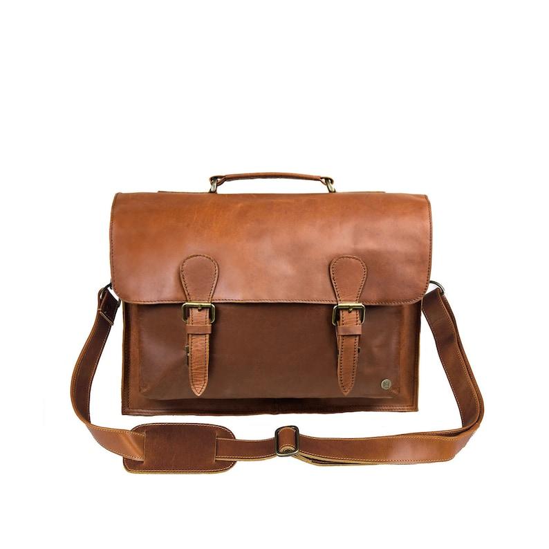 1f1cbda9b3 Traditionnel marron pleine fleur en cuir cartable-sac de | Etsy