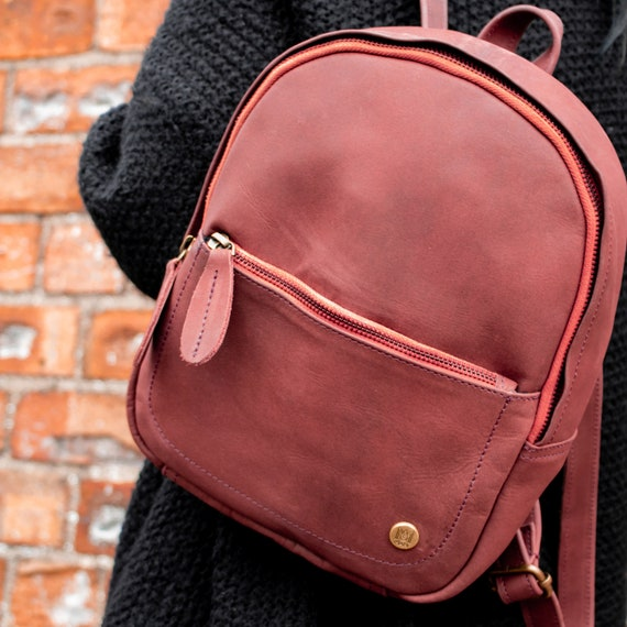 Mini Suede Backpack for Her Maroon Red Nubuck Leather  93d6e79e4950e