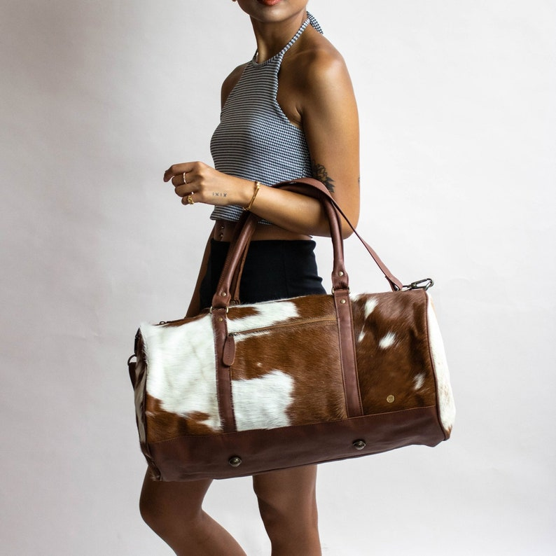 6e4ff82fb2db Cow Print  Pony Fur  Leather Duffle Bag - Brown   White Natural Fur Cowhide  - Weekend Bag - Overnight ...
