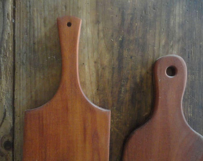 cutting board MAHOGANY _ set of two, handmade from mahogany massive wood _ available also in cotton / linen (bread) bag