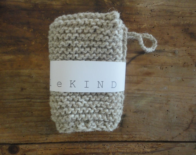 knitted hemp-wool wash CLOTH / GLOVE, hand knitted from natural wool or wool-hemp mixture, big or small