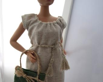 0f677705876 Linen dress with handbag.
