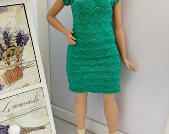 Free shipping! Dress for Curvy doll, stretch clothes.