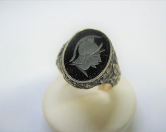 ring onyx engraving head warrior in burnished silver 925