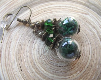 Glass hollow bead with moss earrings dark green glass beads