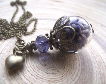 Lavender Amber glass hollow bead ball long necklace