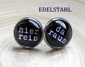 In here-out there statement in size 10 mm studs stainless steel in here-out glass cabochon