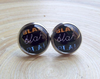 Bla bla BLA statement stud earrings 12 mm with motif bla bla bla slogan comic