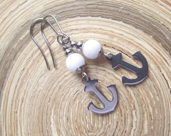 Anchor Jade Earrings Stainless Steel Jade White