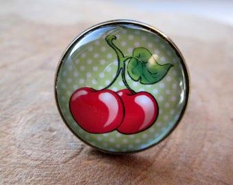 Ring 20 mm cherries green polka dots
