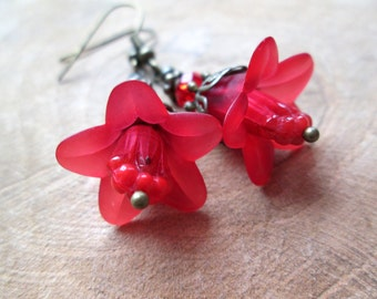 Romantic Flower Earrings in red