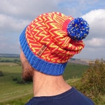 Royal Zigzag Beanie.  Slouchy Knit Bobble Hat.  Made and Hand finished in Britain