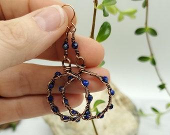 Lapis and copper wire wrapped dangly hoop earrings - handmade jewelry  - lapis lazuli jewelry  - handmade earrings -