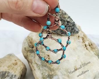 Turquoise earrings - handmade jewelry - earrings - hoop earrings - handmade earrings - jewelry - wire wrapped jewelry